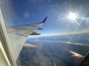 Ausblick beim Flug von Zürich nach der Hauptstadt Oslo