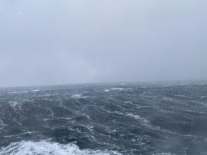 Ausblick von der MS Nordnorge auf das Meer