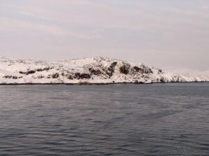 Ausblick von der MS Nordnorge auf das Meer und Küste bei Kirkenes