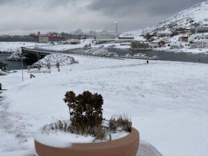 Das Bild ist ein Panorama von Hammerfest mit einem Gas-Tankschiff im Hintergund